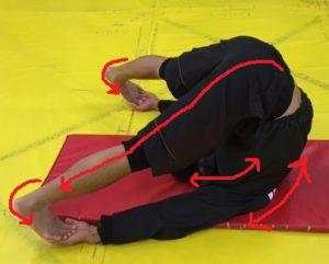 寝ころんだ状態から足首・脹脛・ハム・脊柱起立筋・頸椎一気にストレッチ筋走行ライン