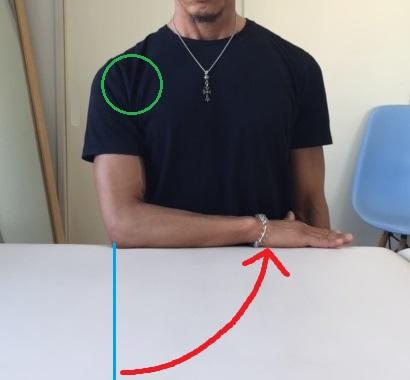 テーブル拭き内側(肩甲下筋を鍛える)