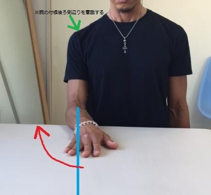 テーブル拭き外側へ(棘下筋・小円筋鍛える)