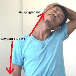 胸鎖乳突筋ストレッチ、頭のほうから片手でサポート